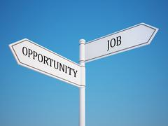 Stock Illustration of opportunity and job signpost.