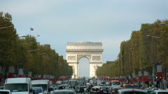 Stock Video Footage of Establishing shot of Arc de Triomphe on a sunny day