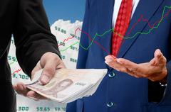 investor make money from stock exchange concept - stock photo