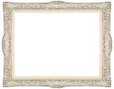 white baroque frame isolated on white background. - stock photo