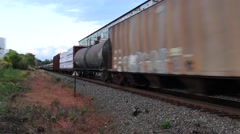 Train Passing Through a Yard (1 of 2) Stock Footage