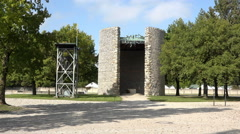 Dachau Concentration Camp bell memorial 4K 008 Stock Footage