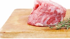 Red raw fillet chops : fresh beef meat Stock Footage