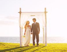 tropical sunset wedding - stock photo