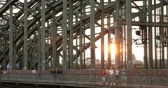 Ultra HD 4K Sunset Cologne Bridge Cologne Tourists Attraction People Crossing Stock Footage
