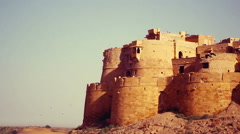Jaisalmer Fort's sandstone wall with the Thar Desert on the background. Stock Footage