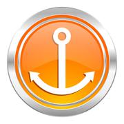 Anchor icon, sail sign. Stock Illustration