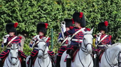 Belgium cavalry captain commands Royal horsemen trumpets parade - stock footage