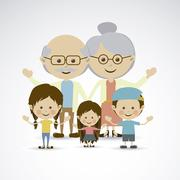 grandparents and grandchildren over gray background vector illustration - stock illustration