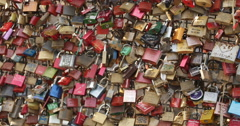 Many Love Locks Cologne Bridge Symbol Eternal Friendship Romance Valentines Day Stock Footage