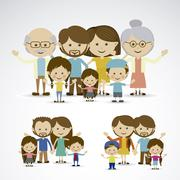 different families over gray background vector illustration - stock illustration