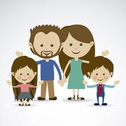 family together over gray background vector illustration - stock illustration
