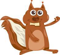 Stock Illustration of squirrel with nut cartoon illustration