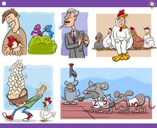 cartoon concepts and sayings set - stock illustration
