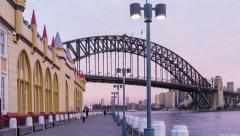 Sydney Harbour Bridge dusk Hyperlapse with slide motion Stock Footage