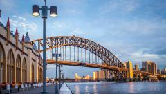 Sydney Harbour Bridge dusk Timelapse Stock Footage