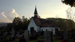 German Grosweil village church cemetery sunset 4K 027 - stock footage