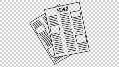 News Paper  line drawing illustration animation trasnparent background  Stock Footage