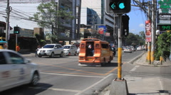 City intersection in the Philippines Stock Footage