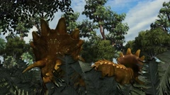 Triceratops in a prehistoric scene - dolly shot Stock Footage