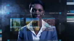 business stock motion graphics touchscreen trade global businesswoman technology - stock footage