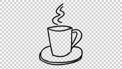 Hot Coffee Cup animation with transparent background Stock Footage
