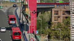 Guggenheim bilbao spain basque street urban traffic Stock Footage