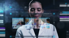 Medical motion graphics touchscreen technology diagnosis laboratory healthcare Stock Footage