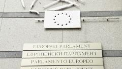 European Parliament logo plate, all euro languages EU countries Stock Footage