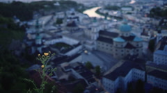 night view of Salzburg cityscape - stock footage