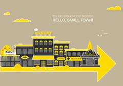 Stock Illustration of Set buildings of small business flat design