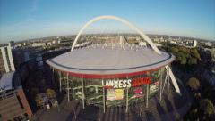 Lanxess Arena in Cologne aerial shot, large concert venue place Stock Footage