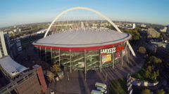Large concert arena in Cologne, Lanxess, aerial shot, ice hockey Stock Footage