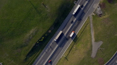 Aerial - Road transport, people travelling with cars on a freeway Stock Footage