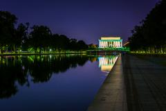 Stock Photo of the lincoln memorial reflecting in the reflection pool at night at the nation