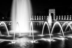 The national world war ii memorial fountains at night at the national mall in Stock Photos