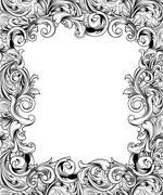 ornate engraved baroque frame - stock illustration