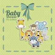 baby shower animals icons over dotted background vector illustration - stock illustration
