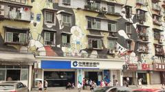 Huangjueping Graffiti Street Stock Footage