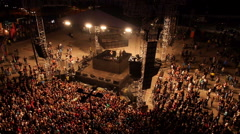 Crowd of people jumping at the house music festival - stock footage
