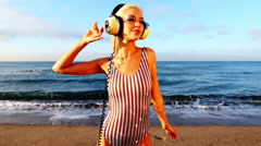 Beach sexy beautiful woman party summer sea glamour discoball Stock Footage