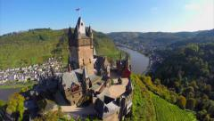 Beautiful castle vine hills river, German Cochem village aerial - stock footage
