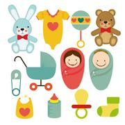baby shower icons over white background vector illustration - stock illustration