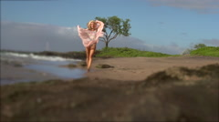 Maui bikini model poses on the beach Stock Footage