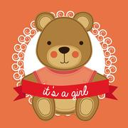 Girl design over pink bakground vector illustration Stock Illustration