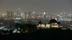 Griffith Park Observatory Dusk to Night Stock Footage