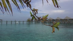 Slider view of a tropical resort in Maldives Stock Footage