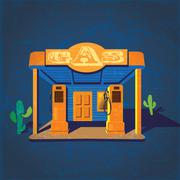 old gas stations - stock illustration