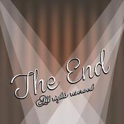 the end label over beige background vector illustration - stock illustration