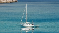 sailboat vacation trip background. leisure recreational activity. beach coast - stock footage
